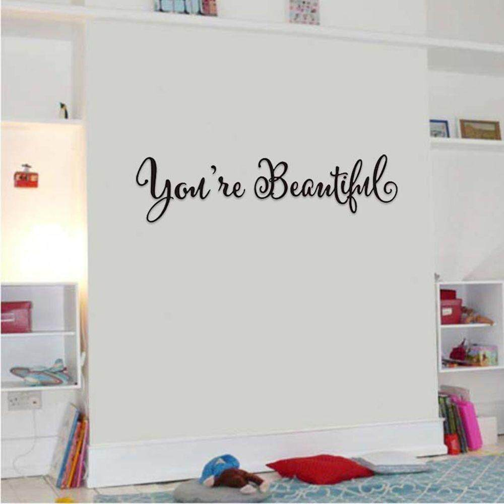 Text Shape Home Decoration You/'re Beautiful Wall Art Quote Decal Mirror Sticker