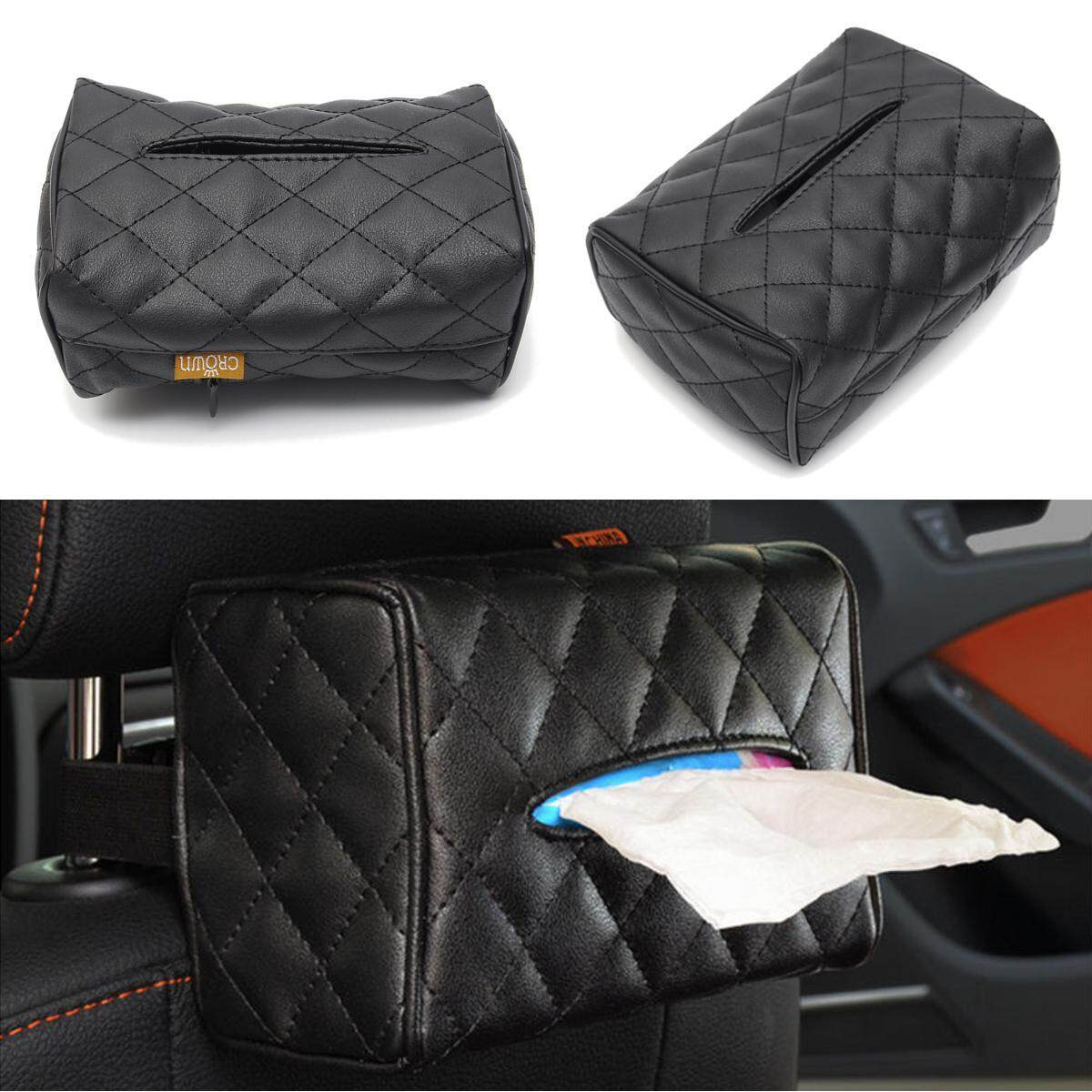 Black Leather Tissue Box Cover Pumping Paper Hotel Car Home Napkin Holder Case