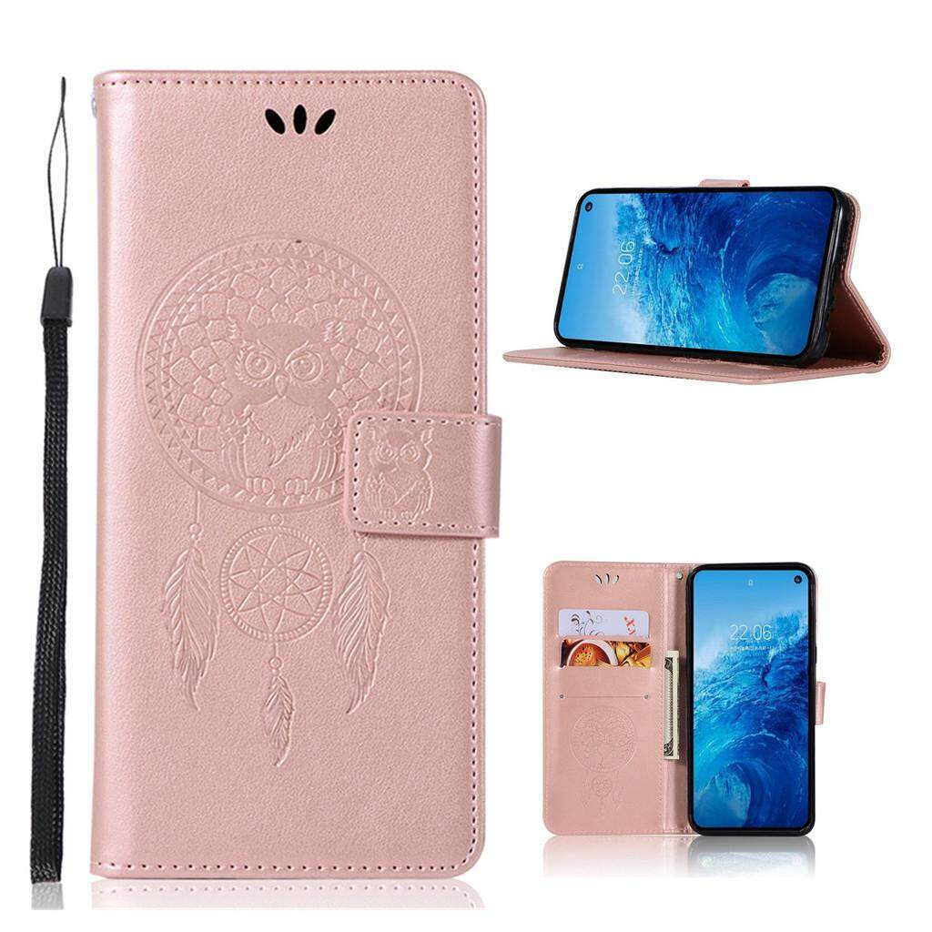 PU leather Phone casing for Huawei P30 Pro ,Card holder Solid color Owl  embossing flip wallet cover shell stand phone case