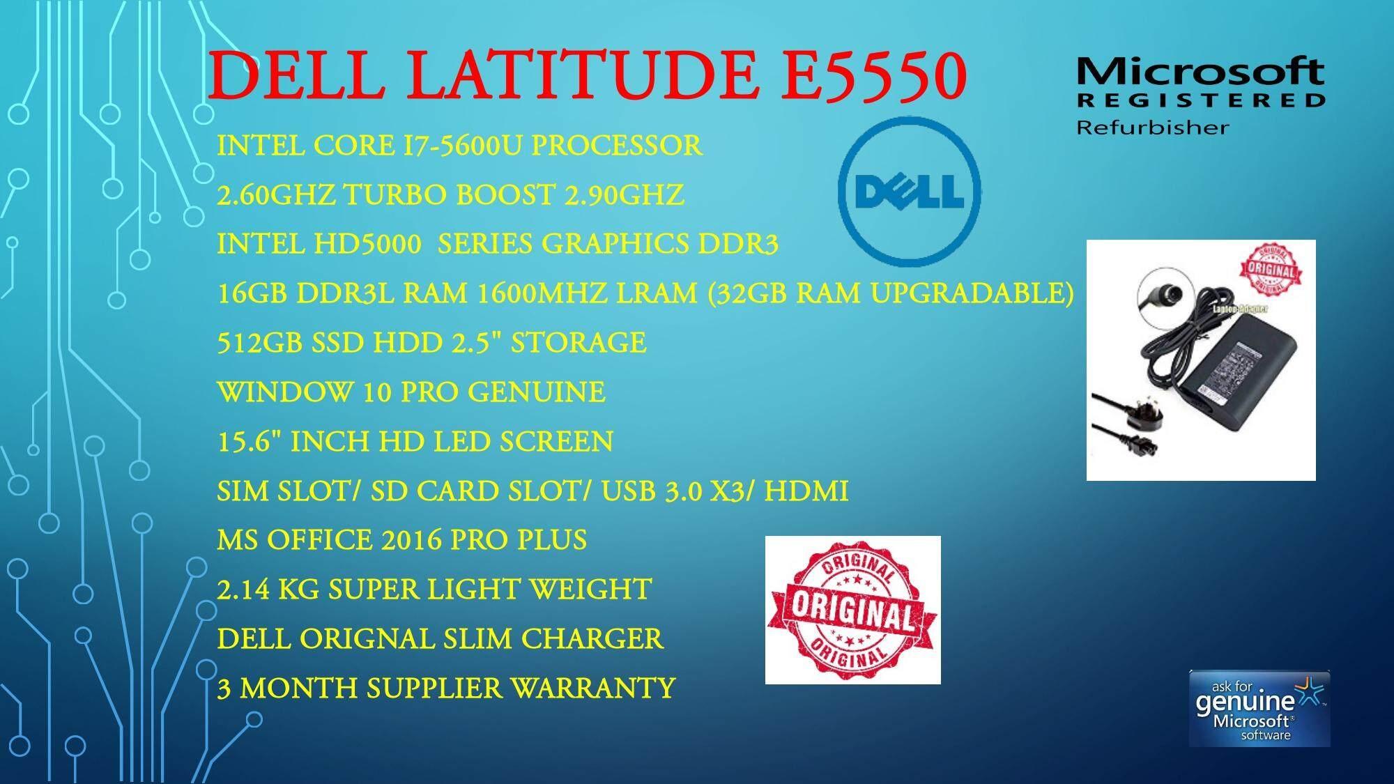 DELL LATITUDE E5550 (CORE I7-5TH GEN , 16GB RAM, 512GB SSD, 15 6