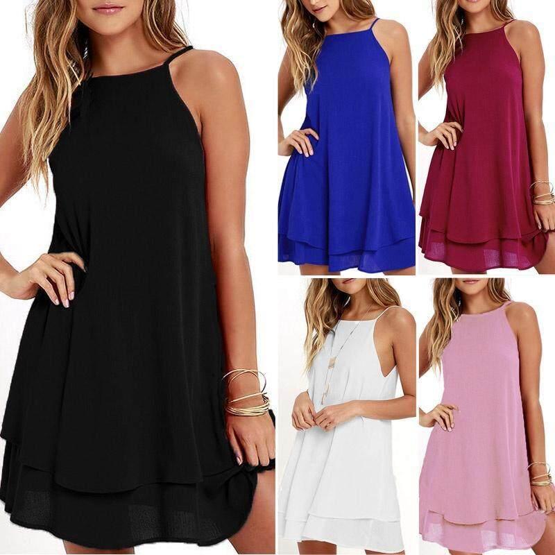 eead1c465742 ZANZEA Women Strappy Loose Casual Solid Short Mini Dress Summer ...