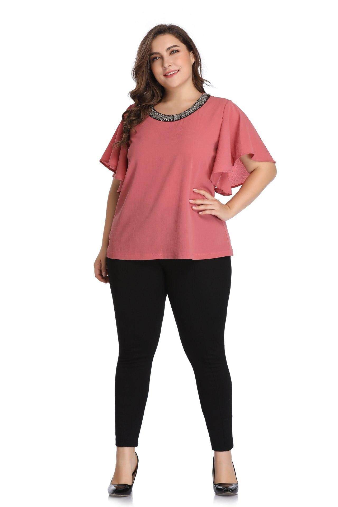 4029849c plus size 4XL 5XL women Blouse summer casual solid pink tops batwing sleeve  office ladies daily clothes 2019 loose big size female clothing