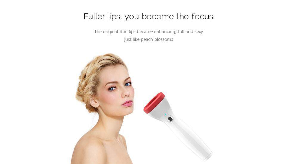 Automatic Lip Plumper Electric Plumping Device Beauty Tool Fuller Bigger Thicker Lips for Women- Milk White