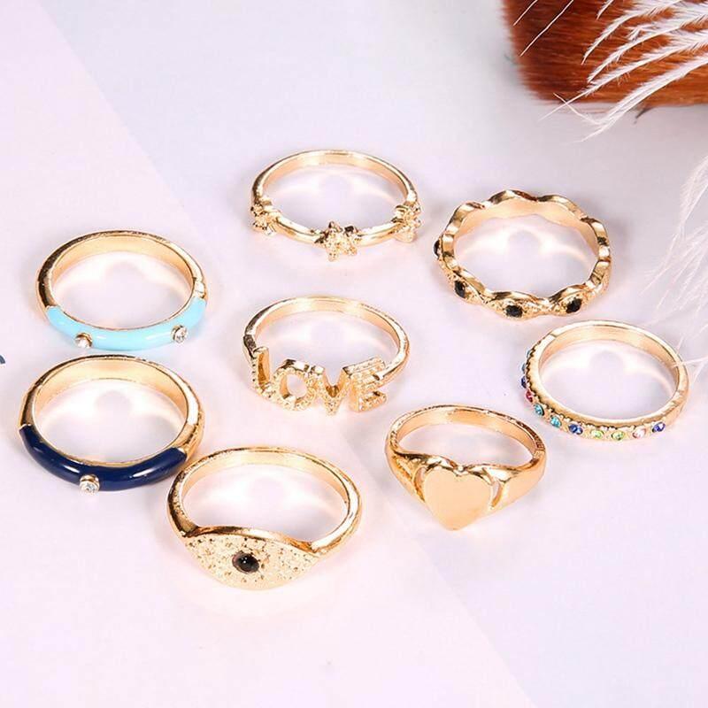 8 Pcs//Set Bohemian Evil Eye Love Heart Star Crystal Rings For Women Gems Jewelry