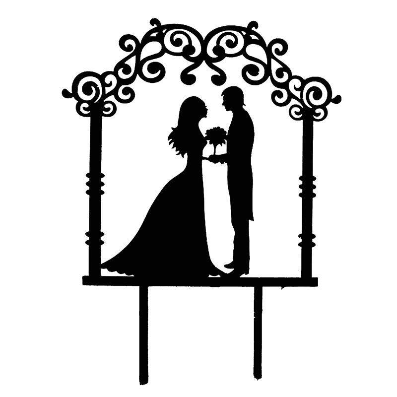 Fancyqube New Wedding Cake Topper Insert Card Love Groom And Bride Acrylic Cake Decoration