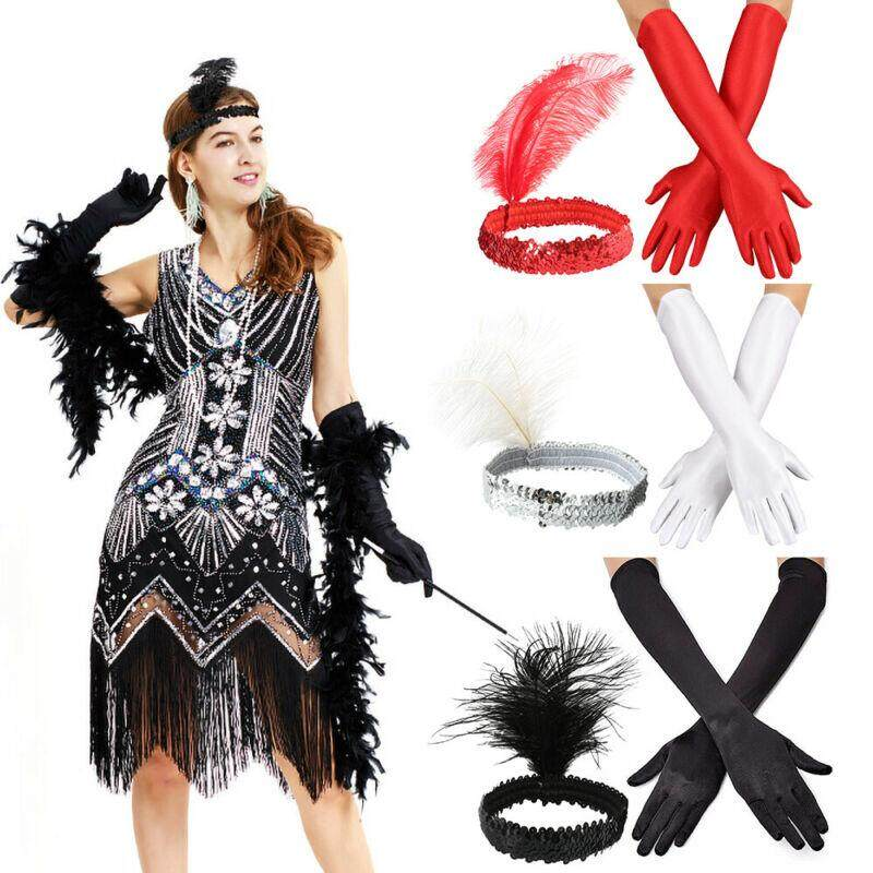 20s 30s Costume Gloves Headpiece Necklace Flapper Charleston Accessories