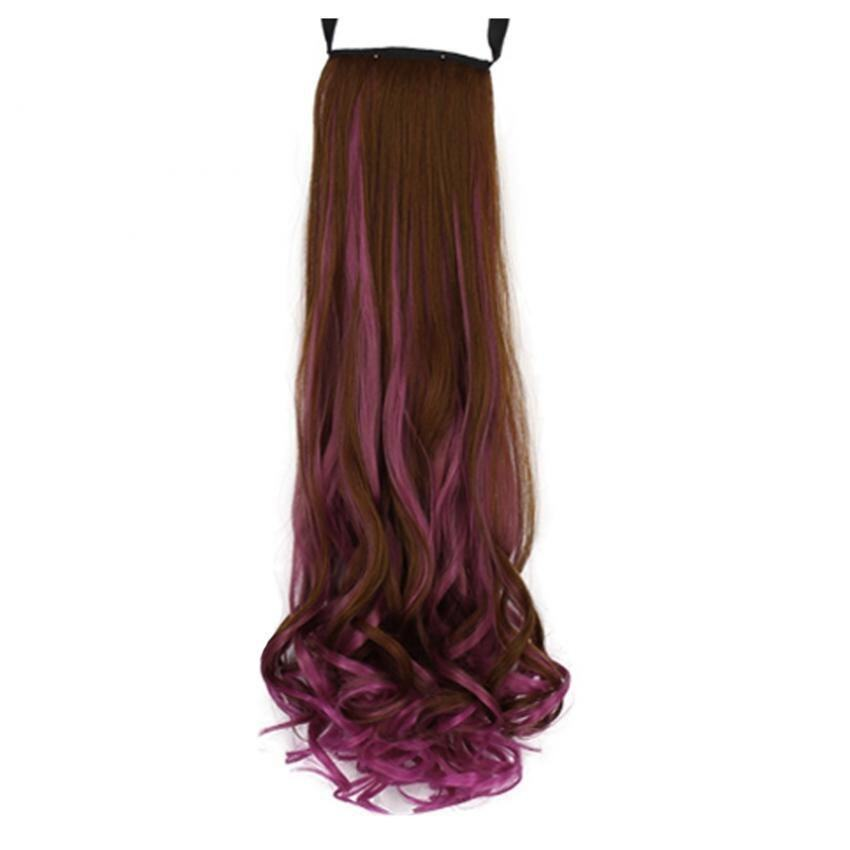 Colorful High Temperature Long Wave Curly Wig Cosplay Ponytail Wig Flaxen + Peach Red
