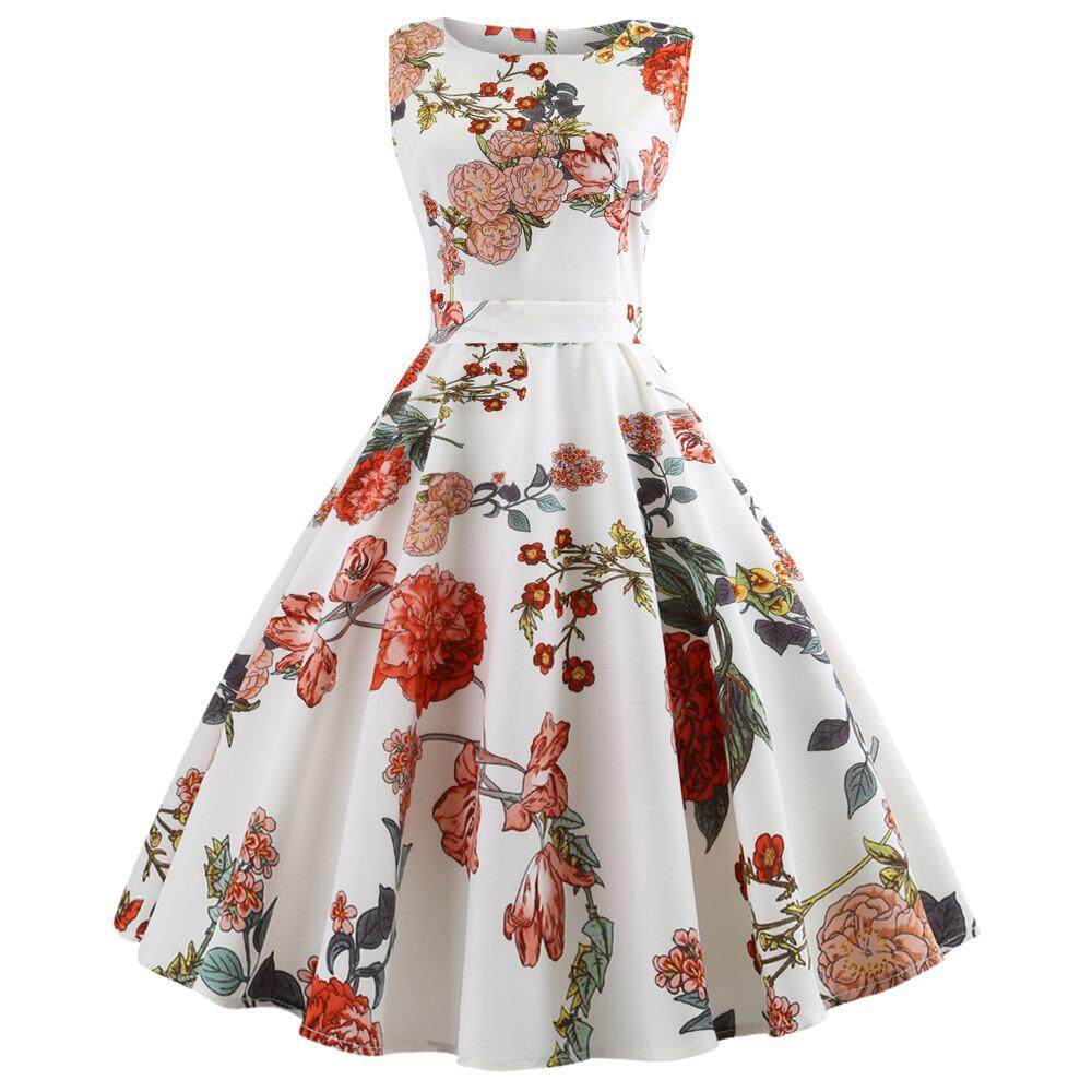 Womens Vintage Printing Bodycon Sleeveless Casual Evening Party Swing Dress USA