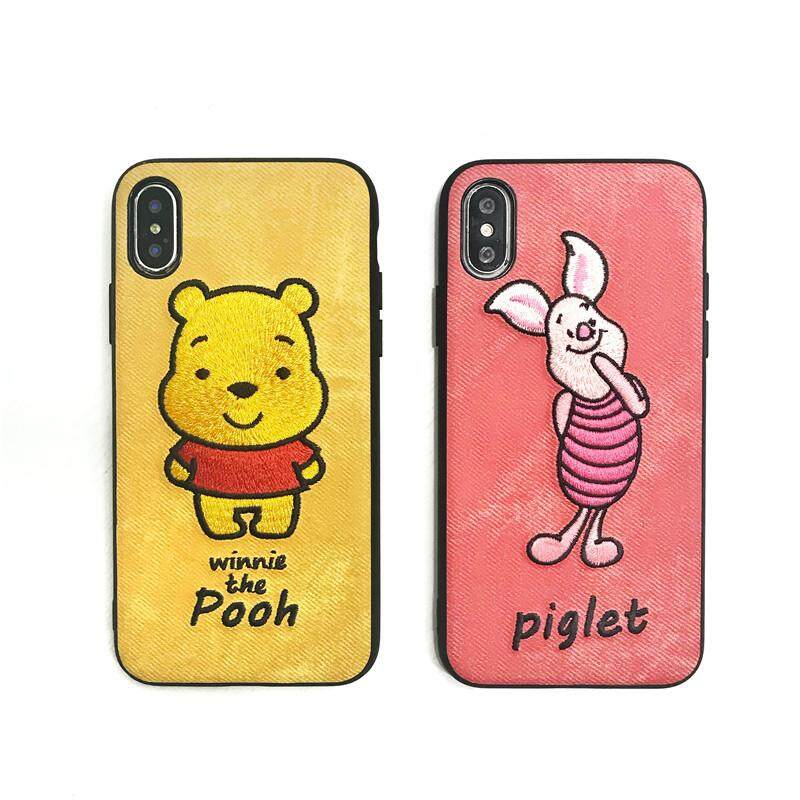 new styles 2ae9a 8044d Newest Cute Cartoon Disneys Winnie Pooh Pig Embroidery Phone Case for  Iphone Xs MAX XR X 6 6s 7 8 Plus Black Side Back Cover Case