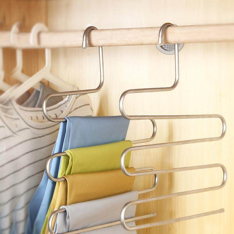 Trousers Hanger 5 Layers Pants Scarf Hanger Holder Closet Organizer Rack Hot