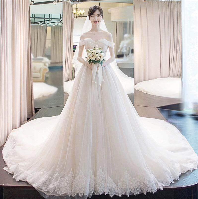 Strapless bridal gown with tail 2019