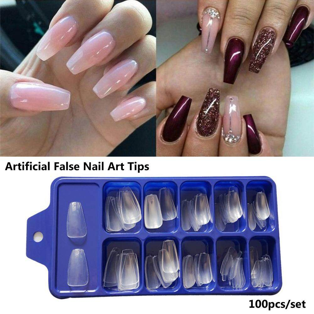 100pcs Full Cover Fake Nails Long Ballerina French Acrylic Artificial False Nail Art Tips