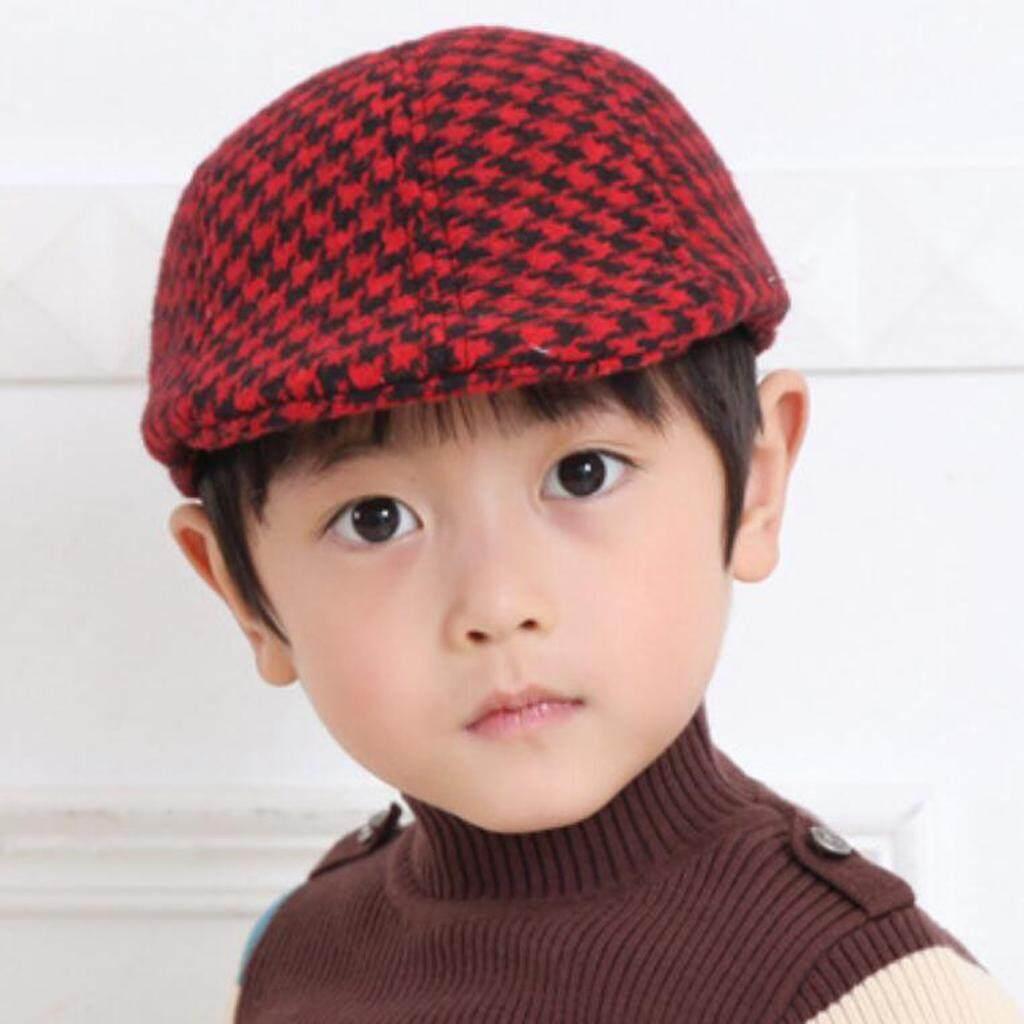 e1c8a3eb6 segolike Baby Kids Plaid Beret Cap Boys Infant Toddler Cotton Newsboy  Peaked Flat Hat