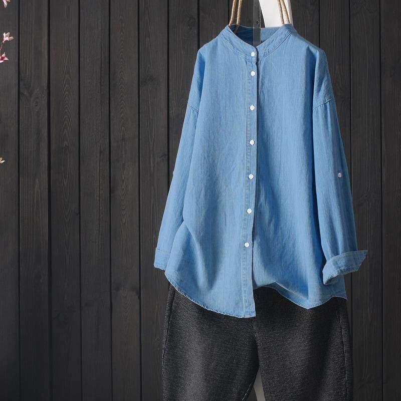 1bde754b4e0c7a Product details of ZANZEA Plus Women Casual Long Sleeve Loose Shirt Tops  Asymmetrical Stand Collar Blouse