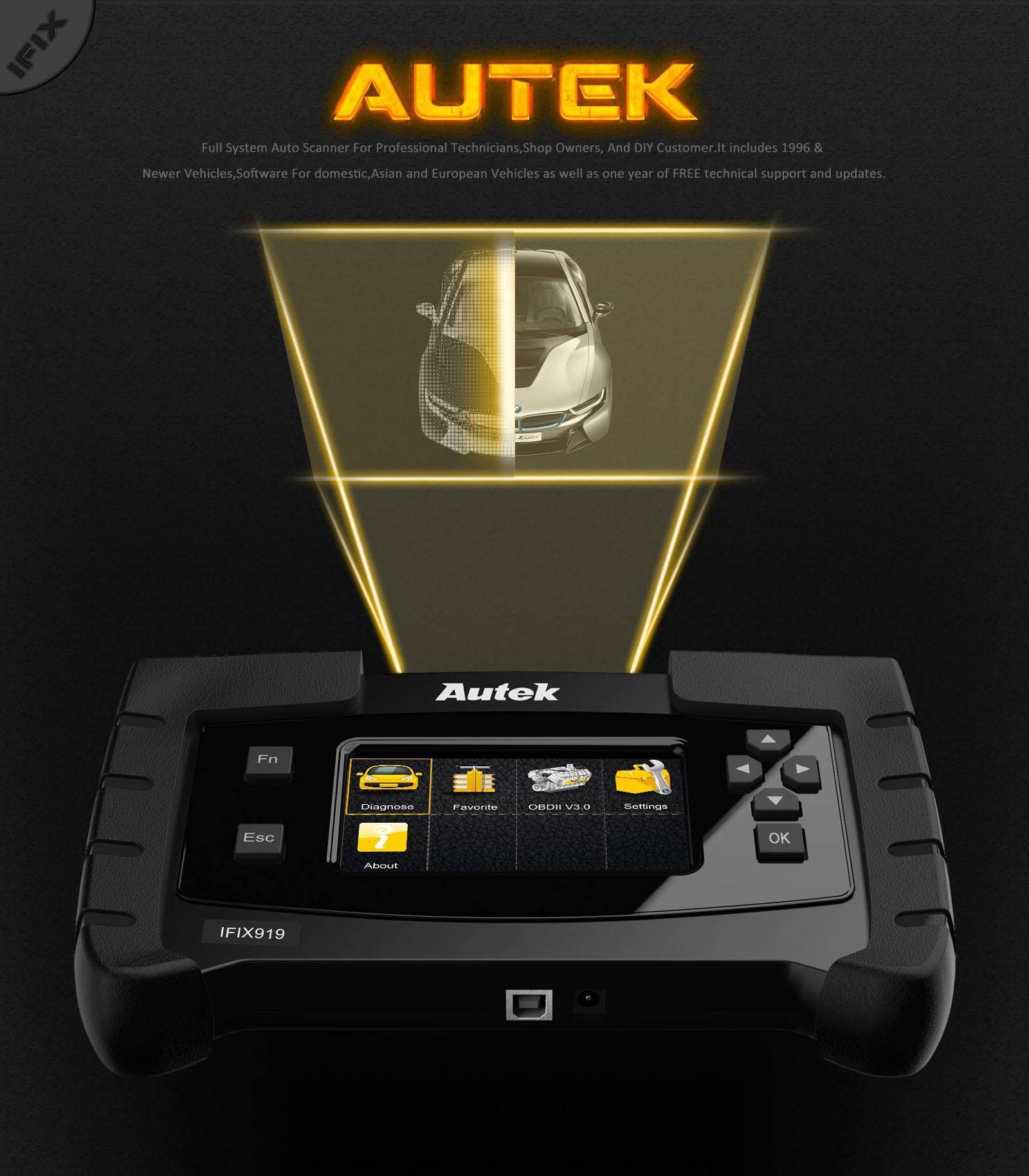 Autek IFIX919 OBD2 scanner Full System Diagnostic automotive Diagnostic  Tool ABS Bleeding/ Oil Service/ EPB Reset Car auto scanner OBD Automotive