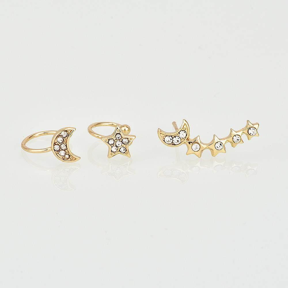 3PCs//Set New Fashion Charm Punk Dangle Ear Stud Hoop Earrings Rhinestone Jewelry