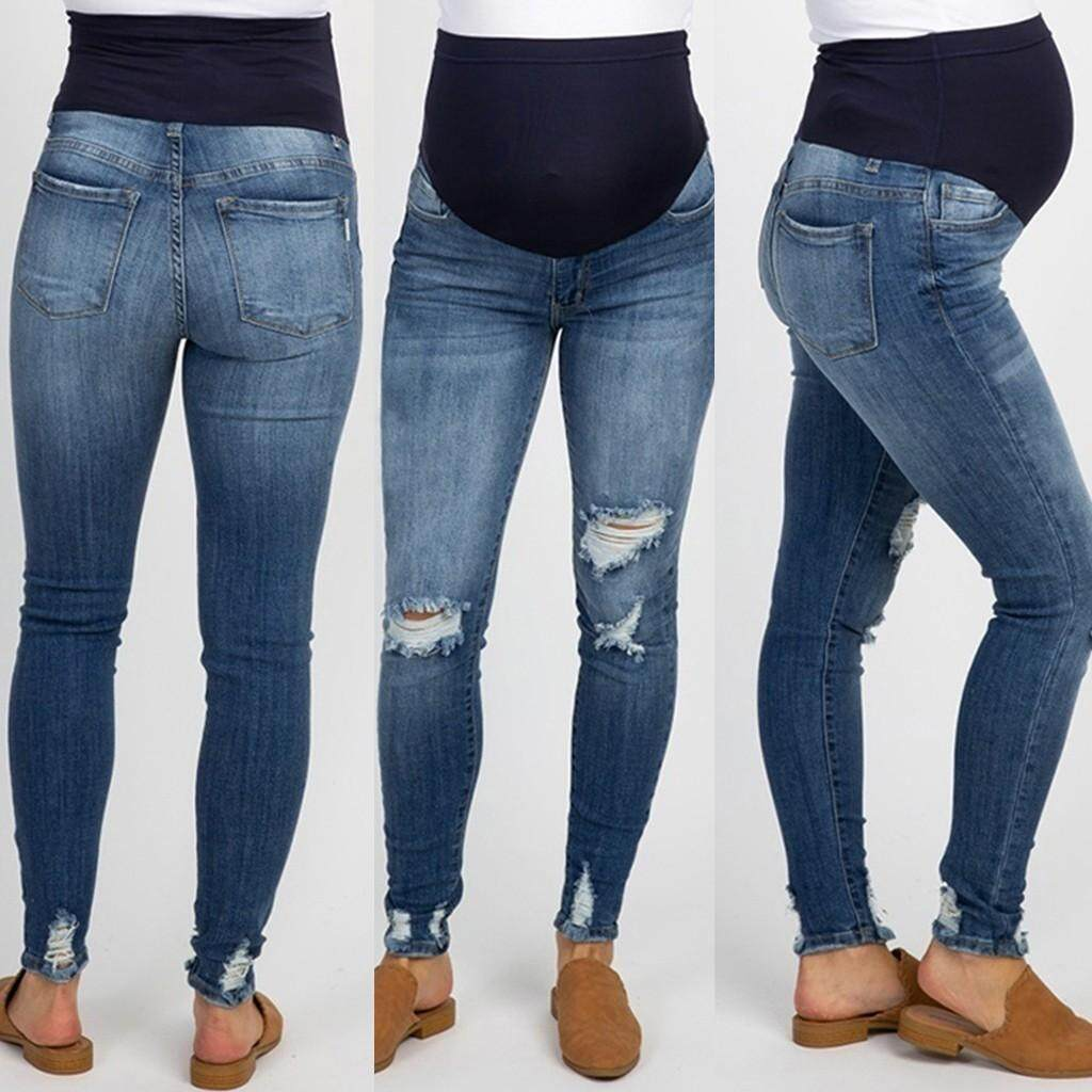 bc3982990f5fe Product details of Ahlisenshop Pregnant Woman Ripped Jeans Maternity Pants  Trousers Nursing Prop Belly Legging