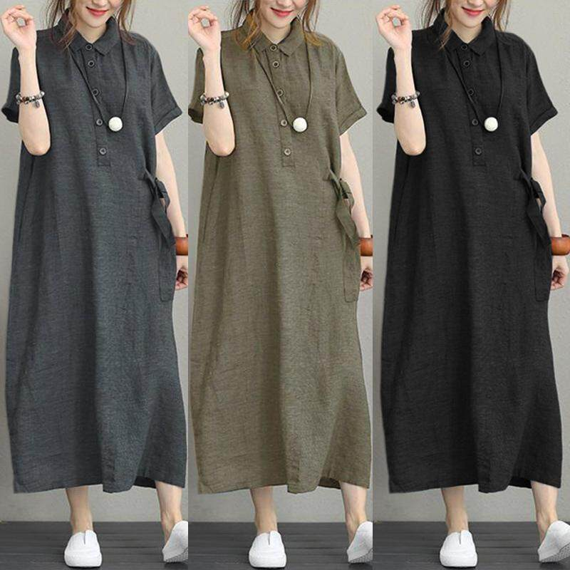 Black Long Sleeve Cotton Blend Midi Kaftan Dress with Pockets
