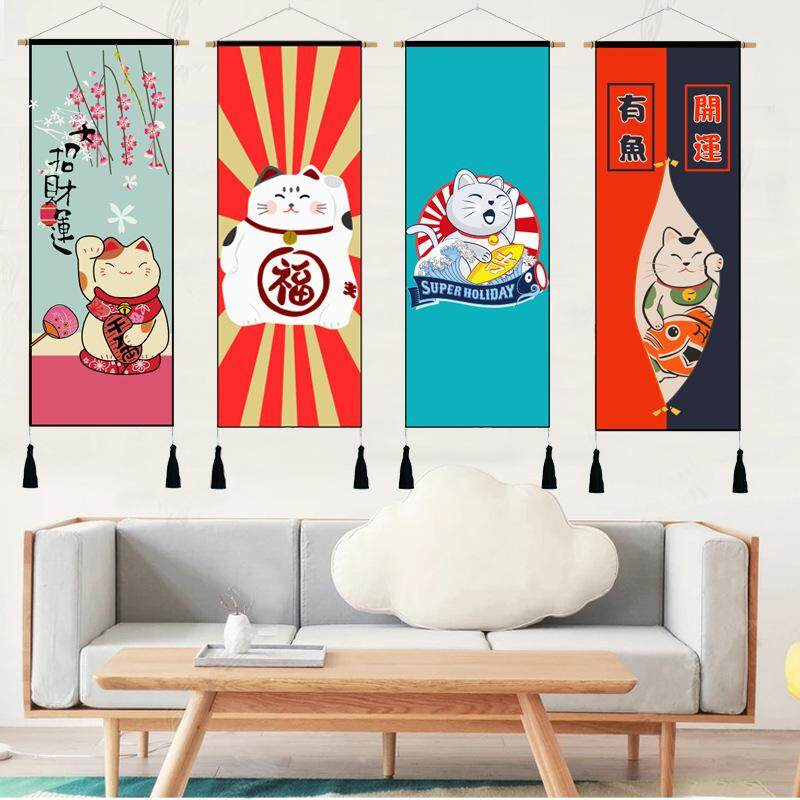 High Quality Japanese Cat Paintings Living Room Sofa Background