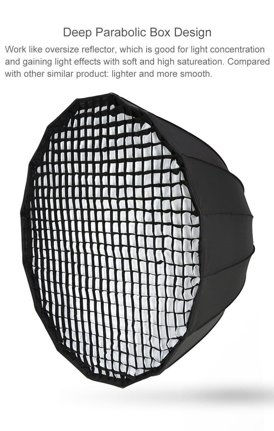 Godox P120L 120CM Portable Deep Parabolic Honeycomb Grid Softbox Bowens Mount Studio Flash Reflector Photo Studio Softbox