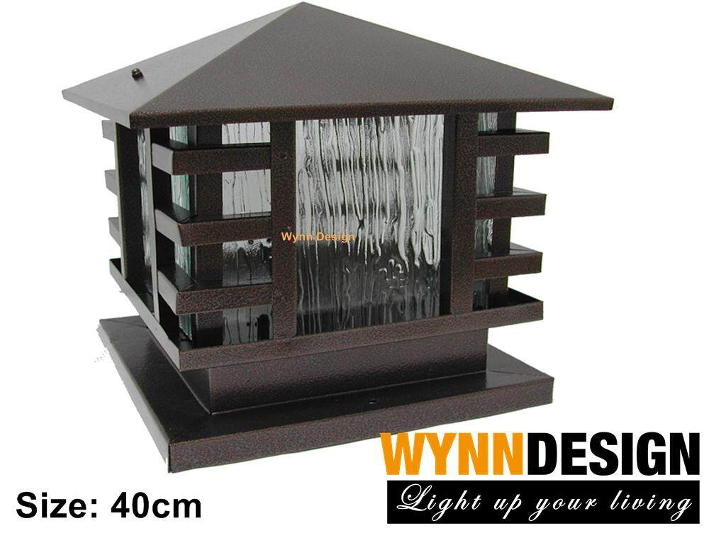 40cm x 40cm Weather proof Outdoor Gate Light Wynn Design Weather Proof  Powder Coated Brown Outdoor Pillar Light (66-400)