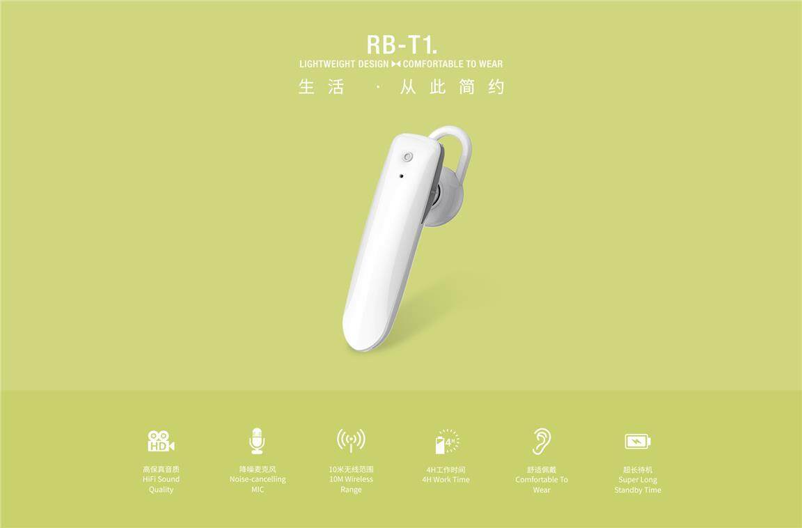 Remax RB-T1 T1 HD Voice Bluetooth Earphone Headset HandsFree