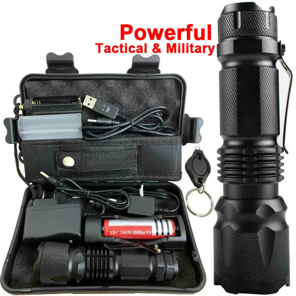 Rechargeable 90000LM T6 LED Flashlight Zoom Torch+18650 Battery /& Dual Charger