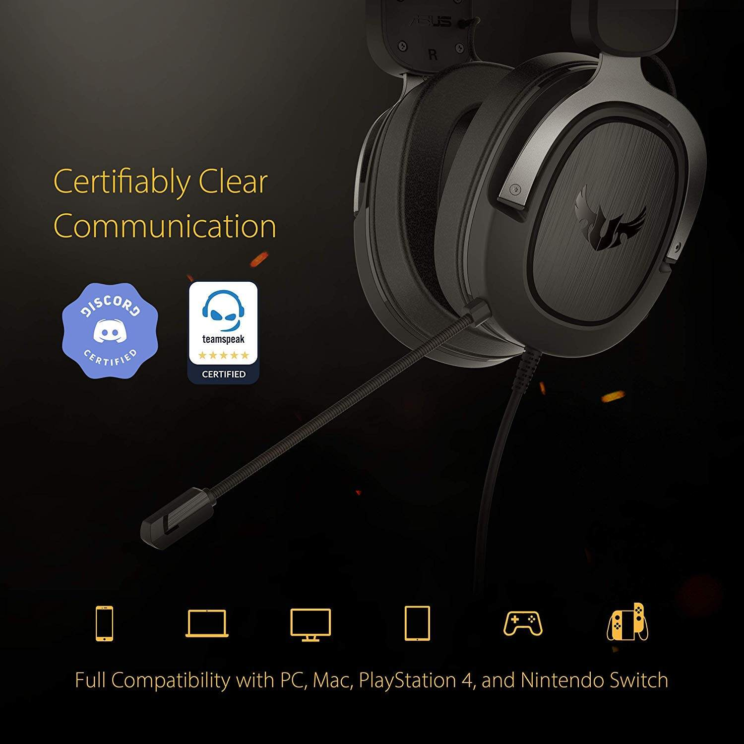 ASUS TUF Gaming H3 7.1 Gaming Headset for PC, PS4, Xbox One and ...