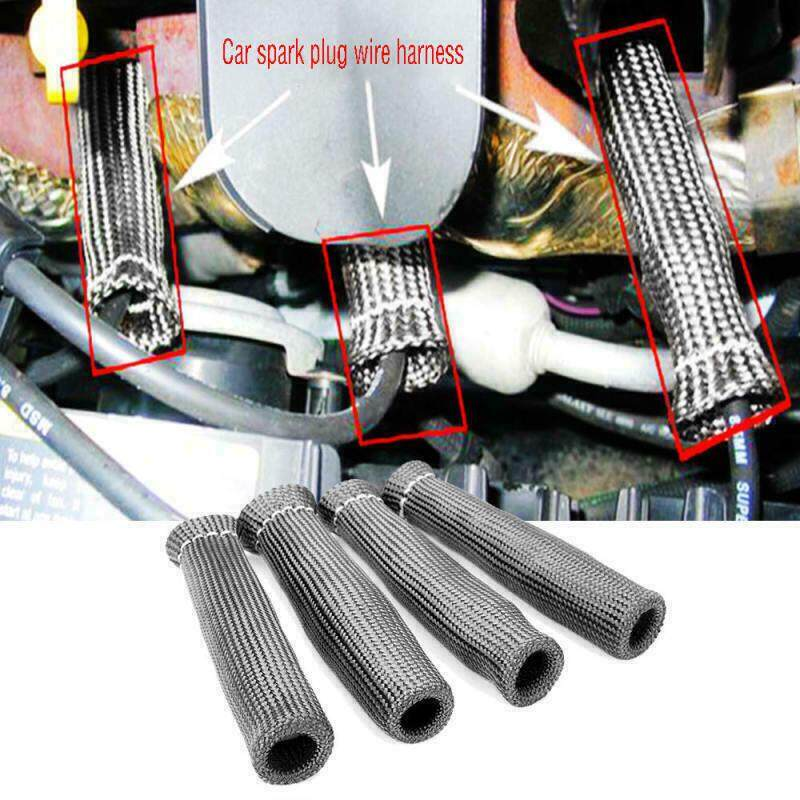 8 x 2500° Car Spark Plug Wire Boot Sleeve Heat Shield Cover Protectors Black Hot