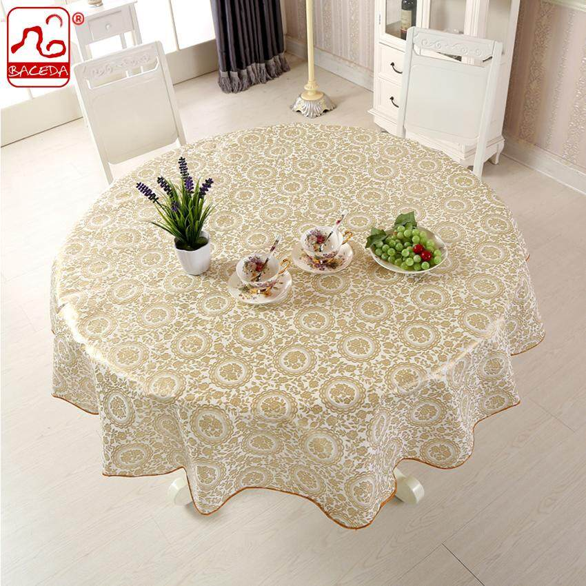 Baceda Pvc Table Cloths For Dinning Table Round Waterproof Table