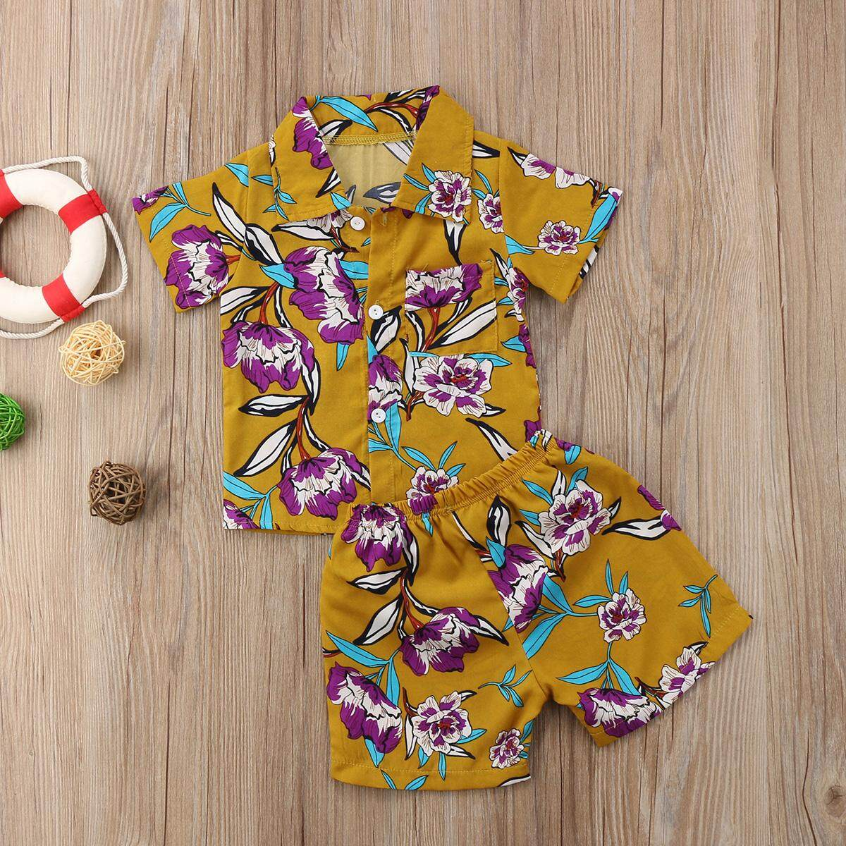 add75b580 Product details of 2pcs Kids Baby Boy Clothes Set Short Sleeve Hawaii Style  Blouse Tops+ Floral Shorts Outfits Baby Boy Summer Beach Suit 1-6T