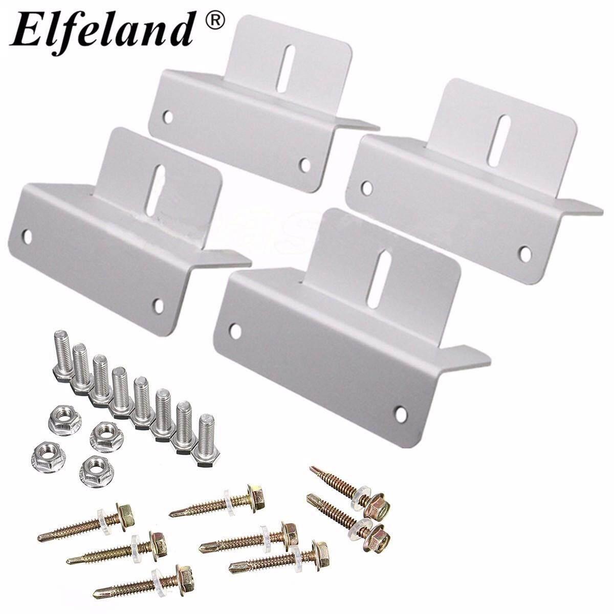 【Free Shipping + Flash Deal】Elfeland Solar Panel Mounting Bracket 4pcs Sets  Kit For Flat Roof Wall Aluminum