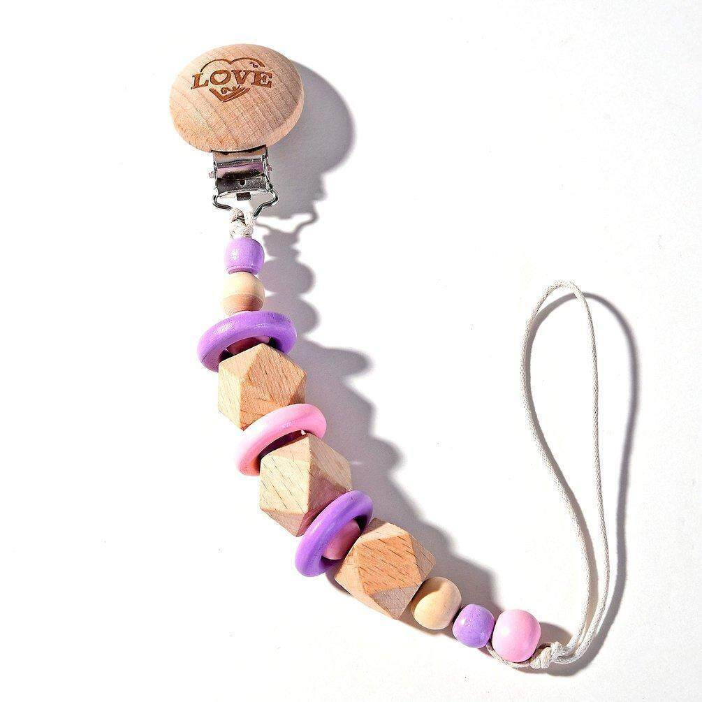 Cute Purple Baby Teething Dummy Pacifier Clip Infant Soother Nipple Strap Chain