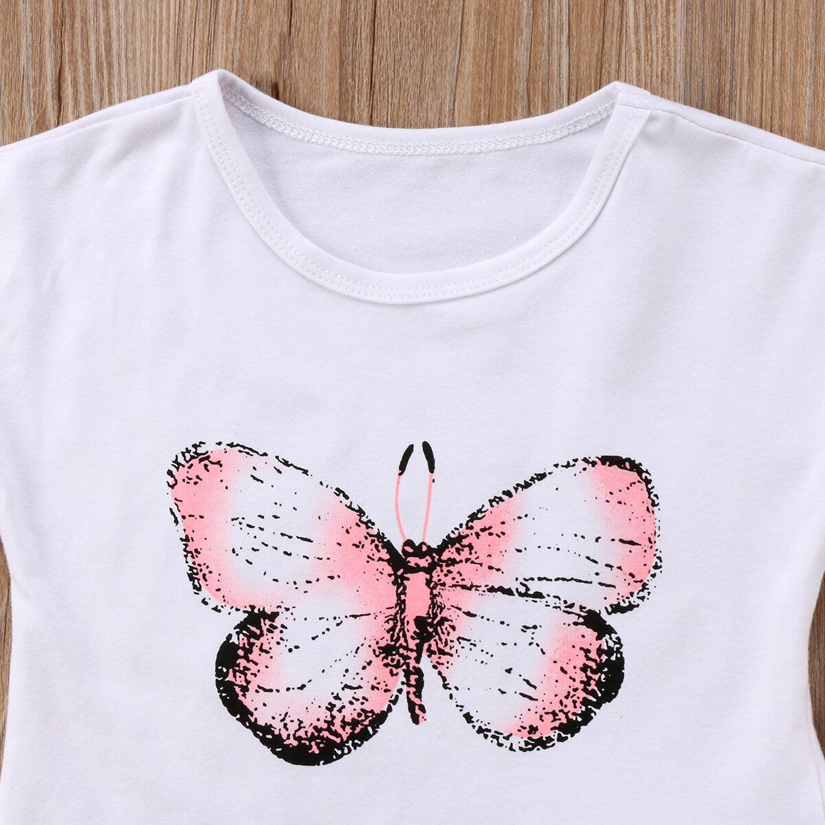 Toddler Girls Clothes Summer Dress Butterfly Print T-shirt+Skirts Pink Outfits