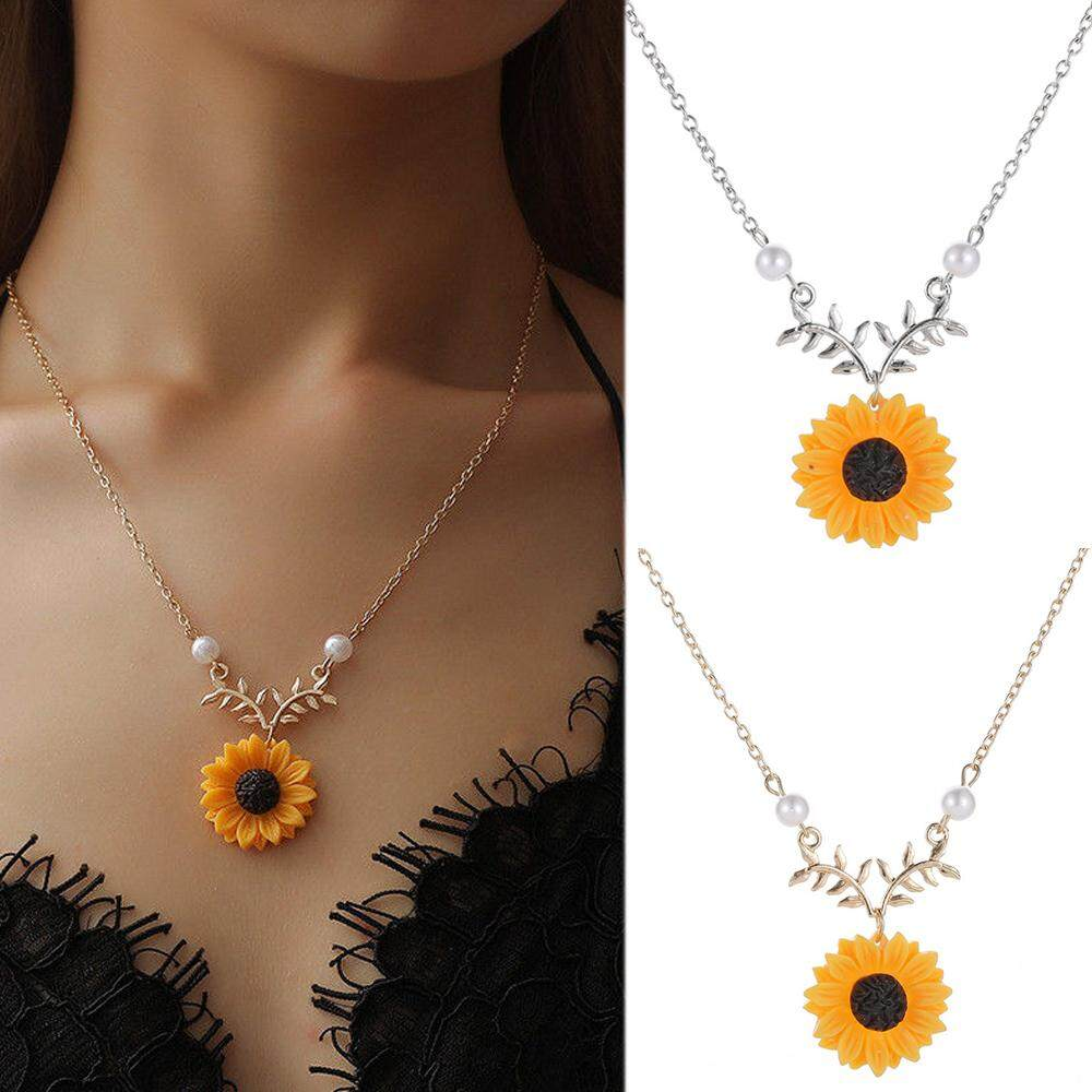 5573f928164be 1pc New Pendant Clavicle Necklace Cute Sunflower Leaf Branch Gifts Women  Jewelry Birthday Gift Boho Bohemian Accessories