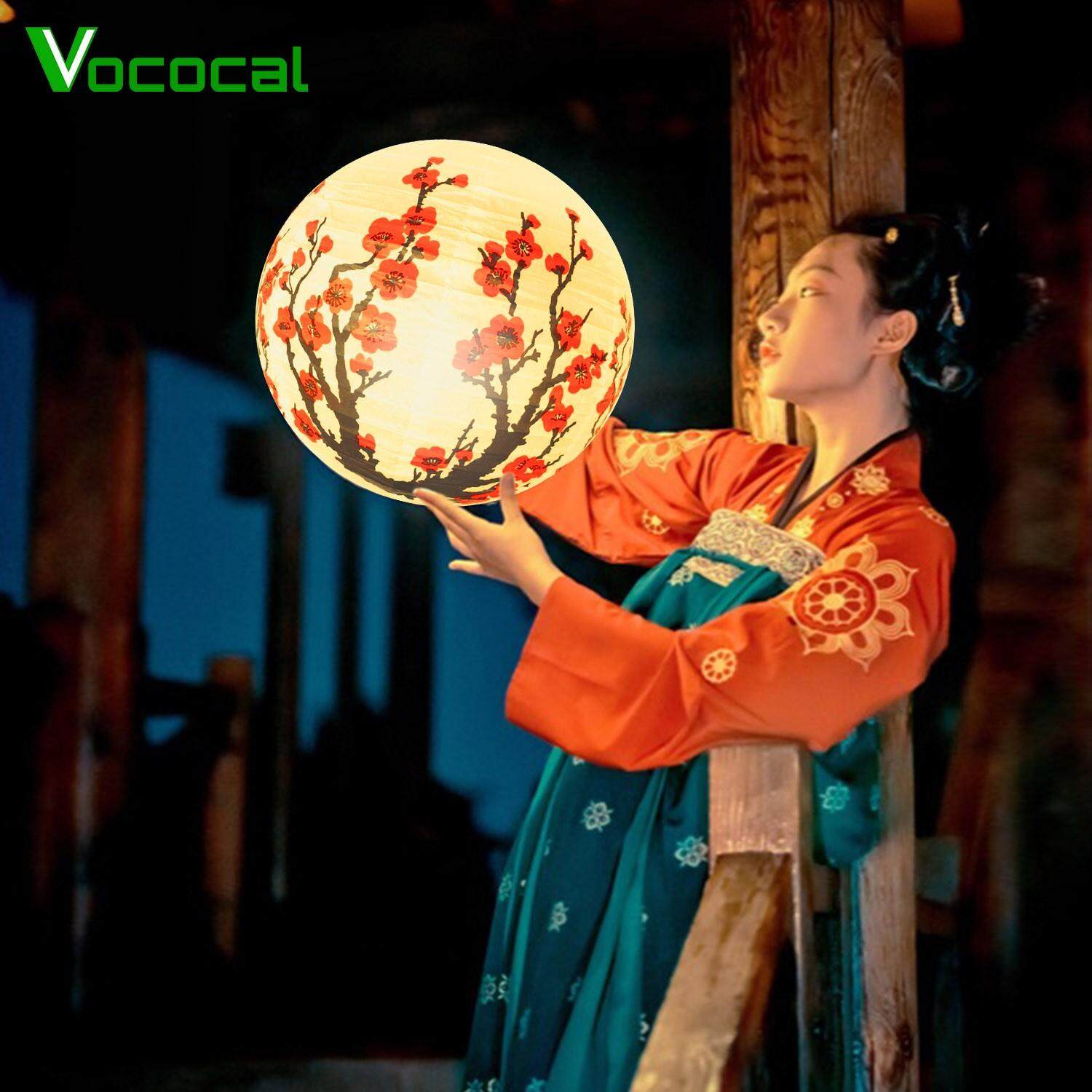 5pcs Chinese Paper Lanterns Plum Blossoms Flowers Lamp for Lunar New Year Spring Festival Home Garden Decorations 16 Inch
