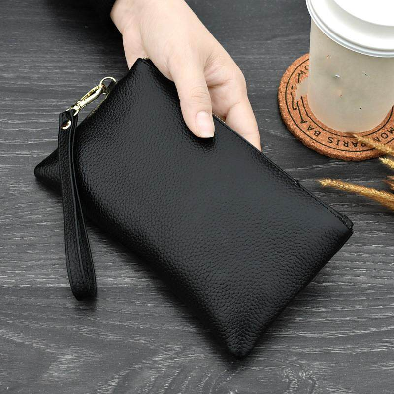 e05b3243206 Real Cow Genuine Leather Wallet Women Mini Handbag Purse Card ID Phone  Holder Zipper Clutch Evening Bags Small Wristlet Wallets