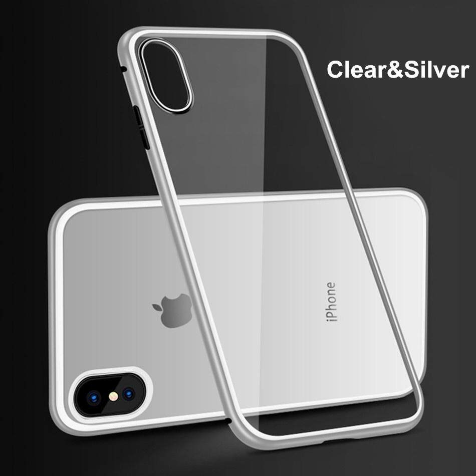 For iPhone XR XS Max 2019 9H Toughened Tempered Glass Back Magnetic Metal  Bumper Toughened Protective Case Cover for iPhone X 8 Plus 7 Plus 6 6S Plus
