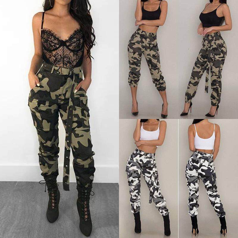 8a000db645e92 BOKALI Womens Camo Cargo Trousers Ladies Casual Military Army Combat  Camouflage Pants