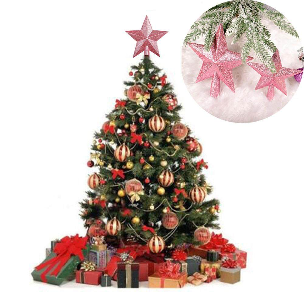 Eqxcelllrhy Pale Pink Christmas Tree Top Star Topper Glitter Finish 15cm Star For Top Tree