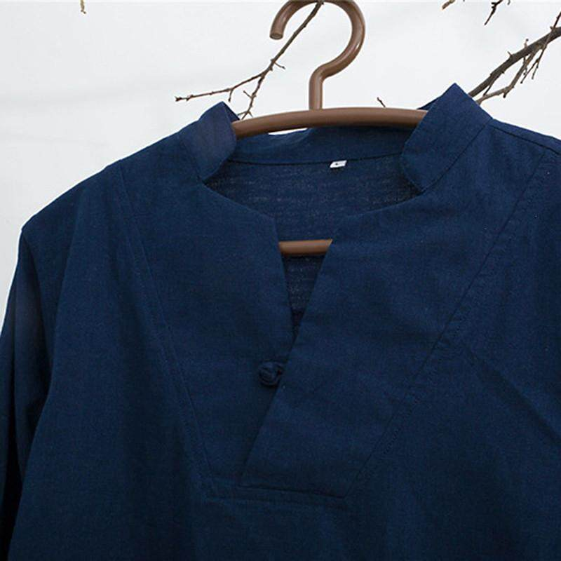 d814384e60c ChArmkpR Vintage Chinese Style Cotton Linen Stand Collar Solid Color Casual  Loose T Shirts for Men