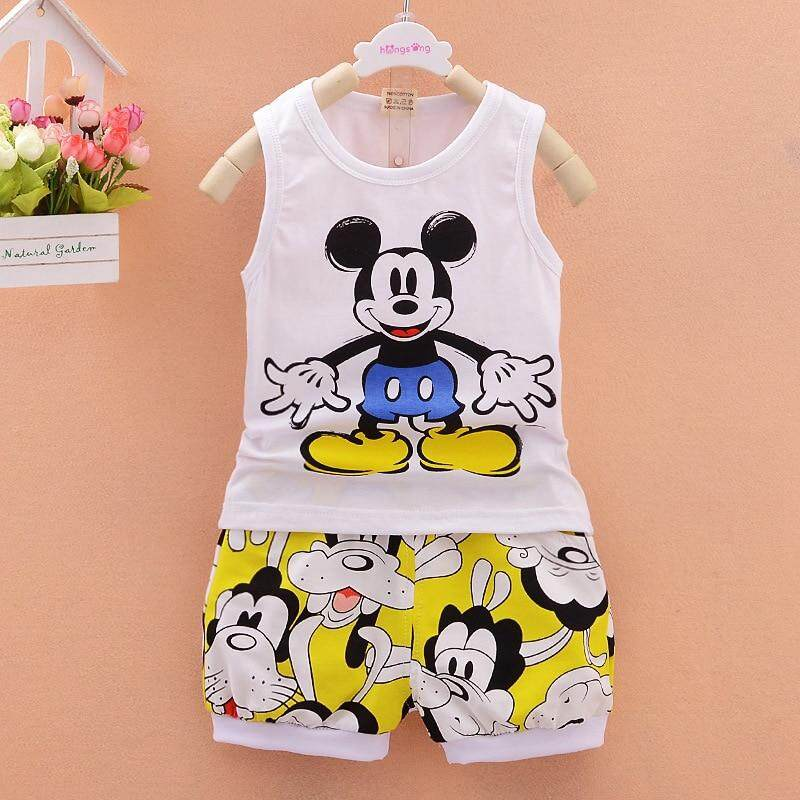 812b47c3ea9bdf 2019 Children Boys Girls Clothes Set Kid Cartoon Vest And Shorts ...