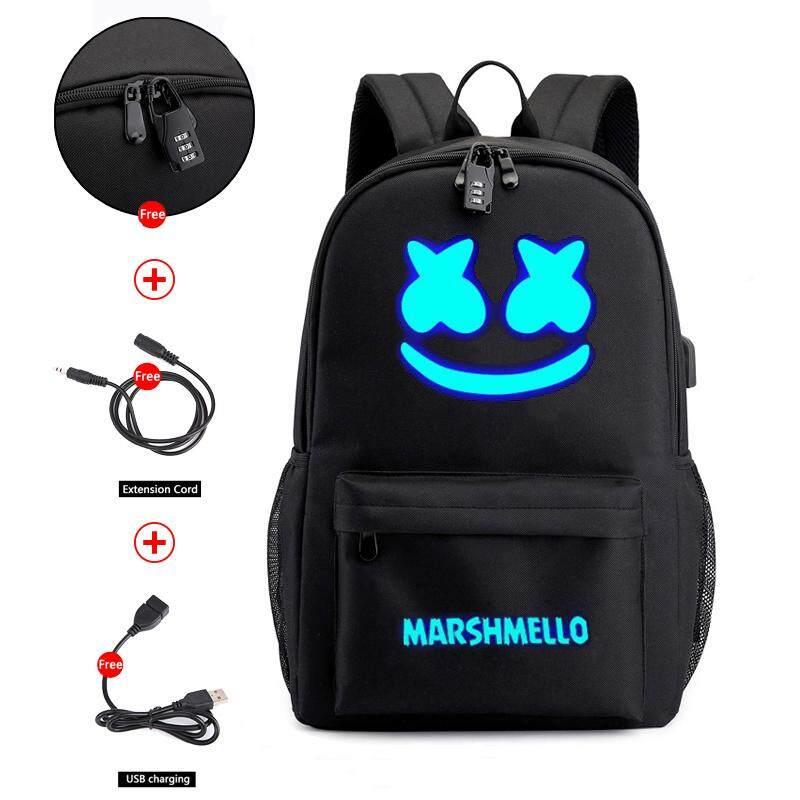 DJ Marshmello Cotton Shoulder Bag Nightlight USB Charged Backpack Student Bag