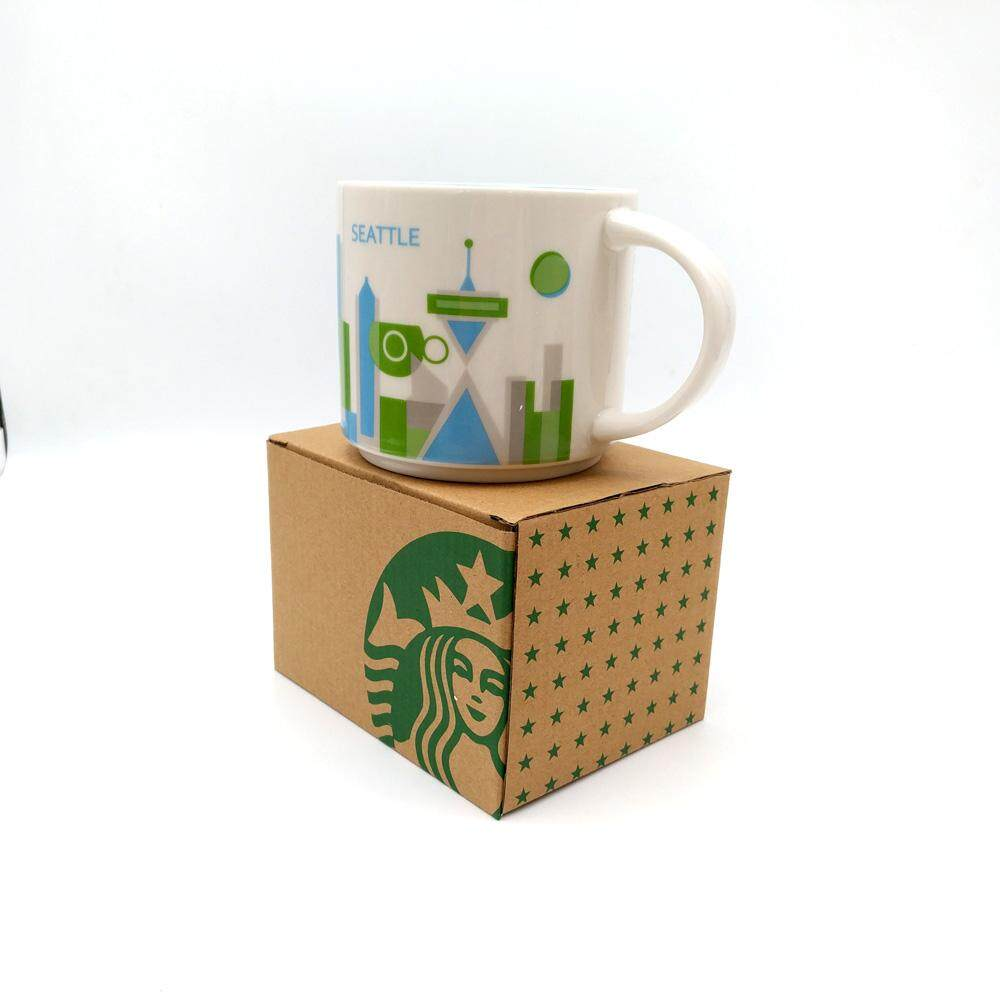 Starbuck Yah You Are Here Series Collection 14oz Ceramic Seattle City Coffee Mug Cup