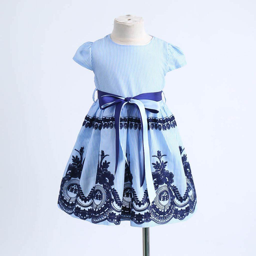 Princess Dress Toddler Kids Baby Girls Clothes Stripe Floral Embroidery Party