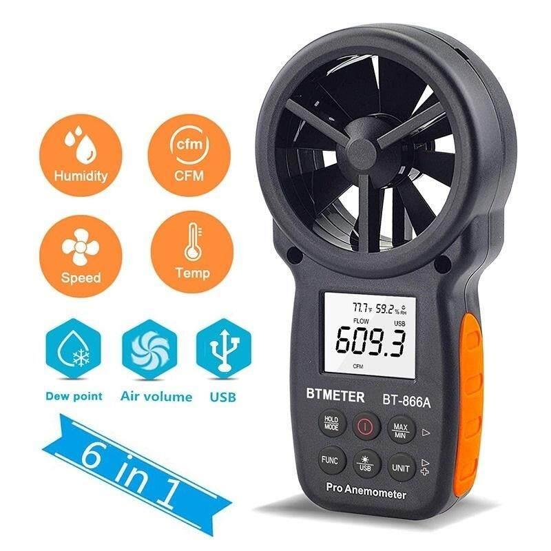 Digital Anemometer Wind Speed Temperature Humidity Tester Air Flow Meter with USB Real Time Data