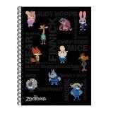 Disney Zootopia A5 100's Hard Cover Notebook - Black
