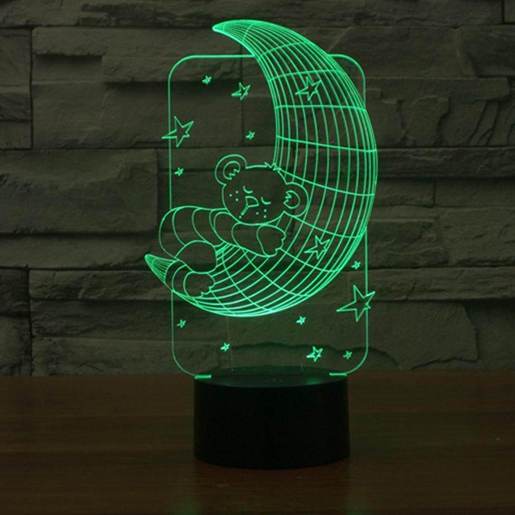 Hình ảnh sản phẩm: UINN Mặt Trăng Hình Gấu Cảm Ứng Đèn 7 Màu Đèn Đổi 3D Đèn Ngủ LED
