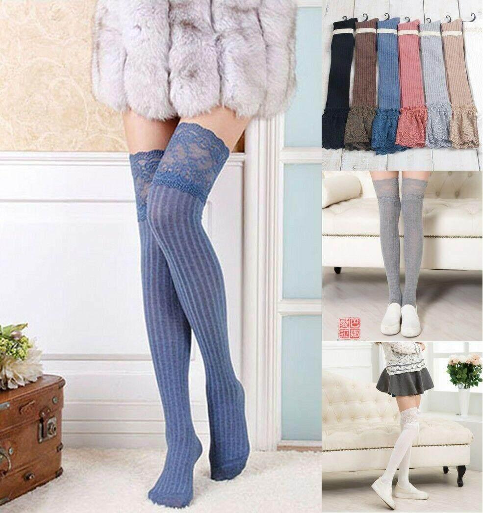 Women Over The Knee Socks Lace Plain Leggings Long Thigh High Soft Stockings