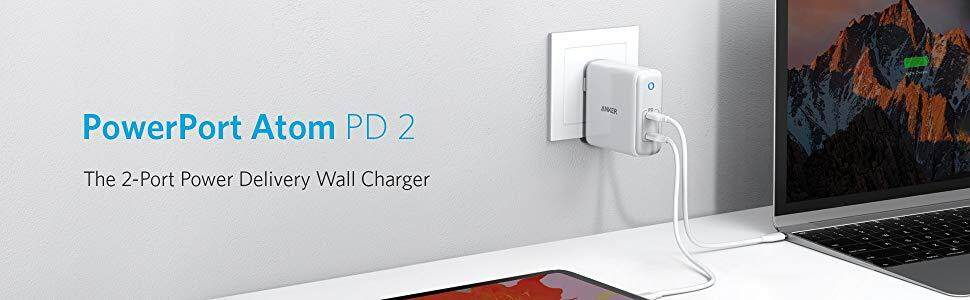 Galaxy iPhone XR//XS//Max//X//8 Ultra Compact Foldable Type C Wall Charger iPad Pro and More Anker 60W 2-Port USB C Charger Power Delivery for MacBook Pro//Air Pixel PowerPort Atom PD 2 GaN Tech
